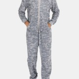 Men Gray Camo Loungewear Jumpsuit Thicken Thermal Loose Zip Down Hooded Home Pajamas With Pockets