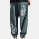 Men's Chinese Style Embroidery Casual Trousers Retro Large Size Fashion Cotton Linen Pants