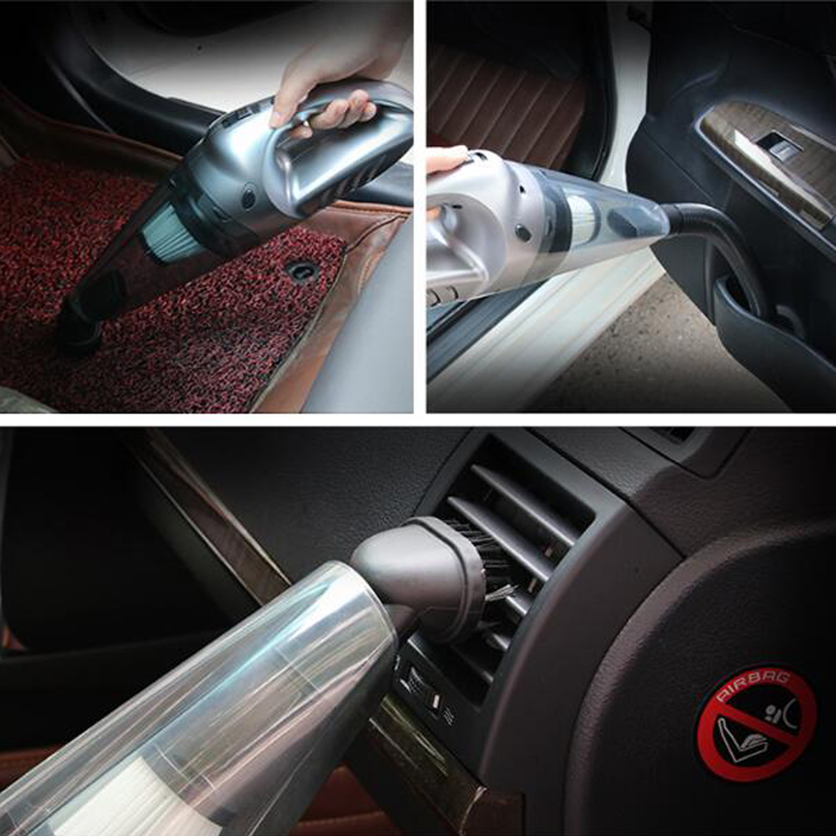 120W Portable Auto Car Handheld Vacuum Cleaner Duster Wet & Dry Dirt Suction with LED Light