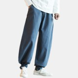 Mens Cotton Pure Color Elastic Waist Loose Comfy Casual Pants