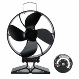 4 Blade Heat Powered Stove Fan Quiet Burning Fire Burner Log Heat Eco Fan with Thermometer