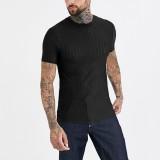 Mens Fashion Stripe Short Sleeve Slim Fit Casual Shirts
