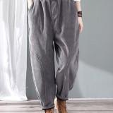 Plus Size Vintage Corduroy Solid Color Elastic Waist Pants