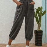 Plus Size Corduroy Elastic Waist Pockets Casual Pants