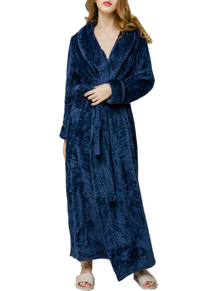 Plus Size Coral Fleece Thick Cardigan Coats Pajamas Gown with Belt