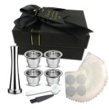 Stainless Steel Nestle Refillable Coffee Capsule Cup Aluminum foil&Powder Hammer&Spoon with Storage Bag for Nespresso Machine
