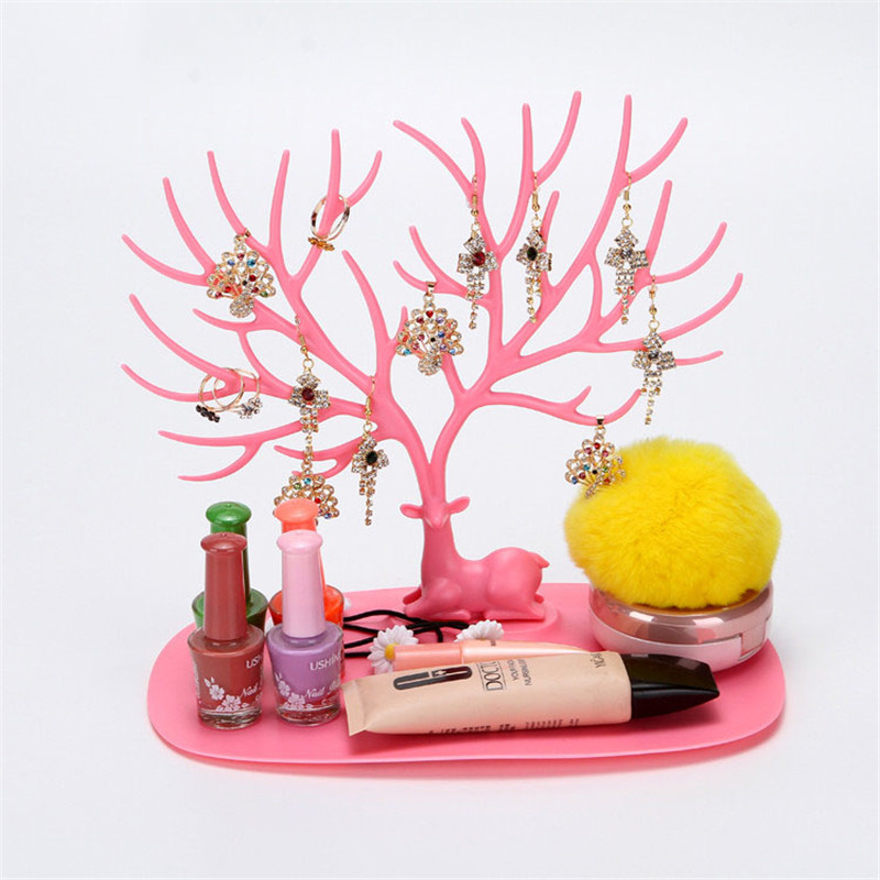 Plastic Creative Cosmetic Organizer Ring Lipstick Rack Makeup Organizer Antler Shaped Jewelry Box Necklace Display Organizer
