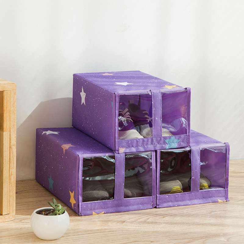 Oxford Fabric Shoe Storage Box Organizer Foldable Washable Dustproof Flip Parts Storage Box
