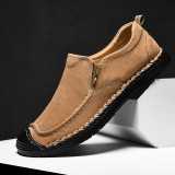 Men Stitching Slip Resistant Casual Leather Soft Sole Flats
