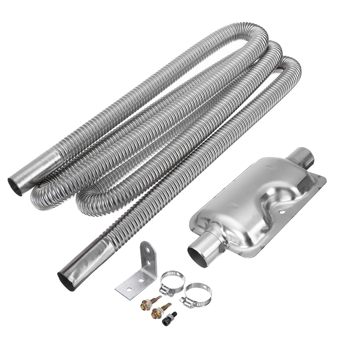 100cm Stainless Steel Exhaust Pipe Silencer Car Parking Air Diesel Heater Kit