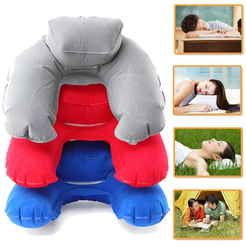 Inflatable Soft Travel Pillow Air Cushion Neck U-Shaped Rest Compact