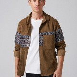 Mens Ethnic Corduroy Printing Printing Long Sleeve Loose Casual Shirts