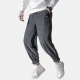 Mens Vintage Corduroy Thick Solid Color Loose Comfy Casual Jogger Pants