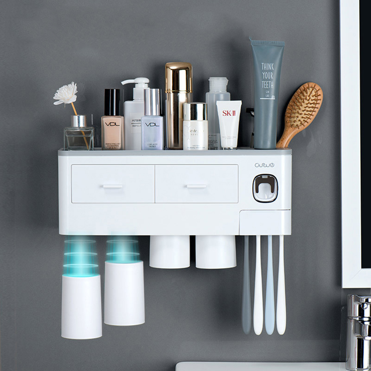 2/3Cup Magnetic Toothbrush Phone Holder Automatic Toothpaste Dispenser Wall  Mounted Storage Rack | Alexnld.com