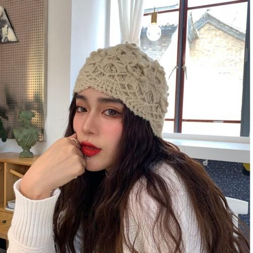 Women Hand-crocheted Beanie Hat Retro Literary Casual Turban Hat