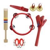 6 Piece Set Orff Musical Instruments Tambourine/Wooden Flute/Finger Cymbal/Wrist Bell/kazoo/Castanet