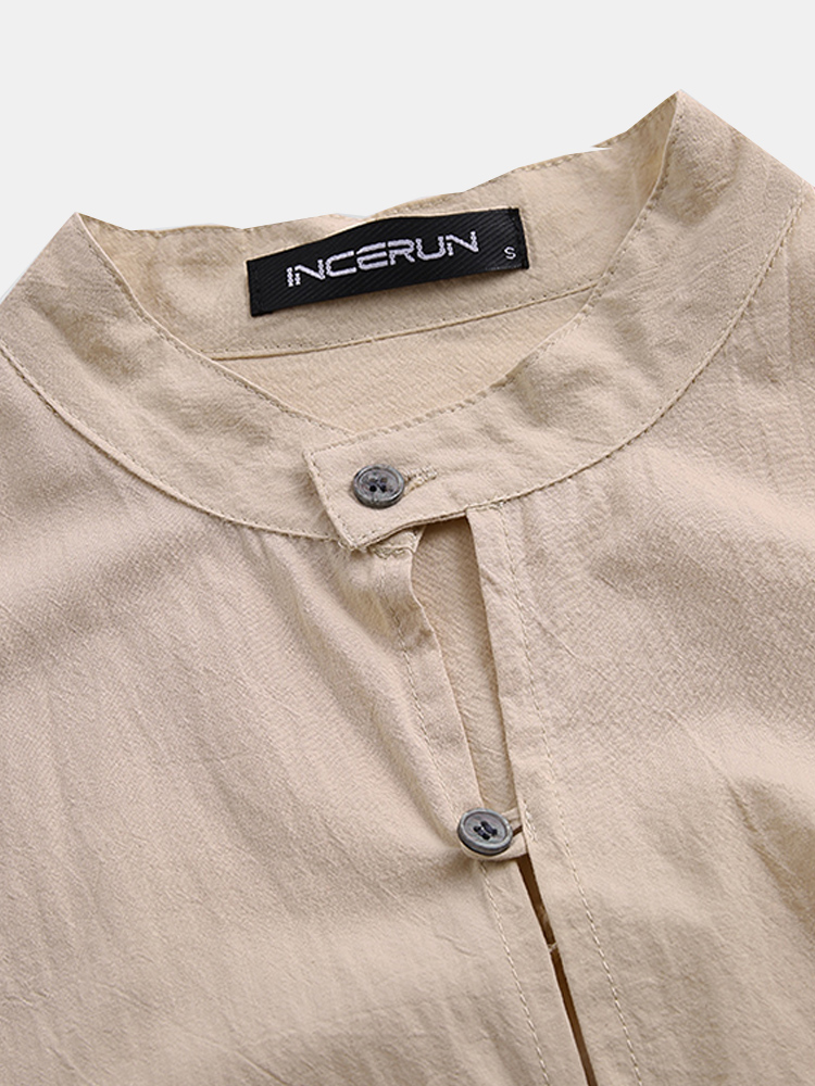Mens Vintage Stand Collar Long Sleeve Solid Color Casual Shirts