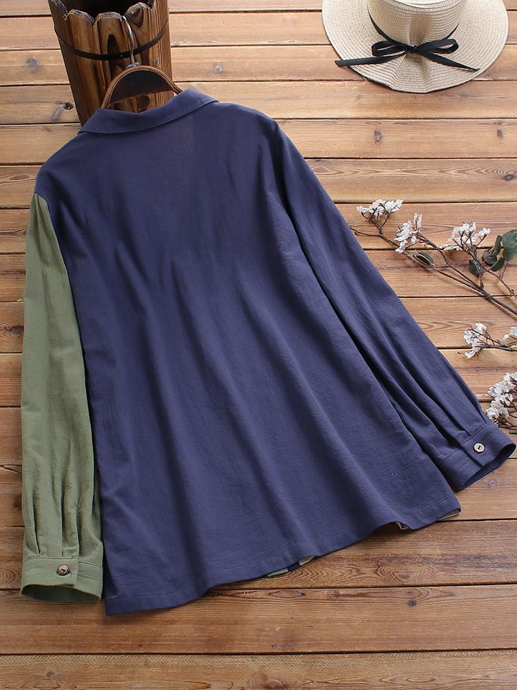 Plus Size Hit Color Patchwork Cotton Casual Long Sleeve Shirts