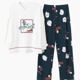 Womens Cotton V-Neck Long Sleeve With Ruffle Printed Pajama Set