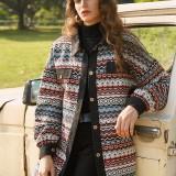 Vintage Jacquard Patch Corduroy Button Long Sleeve Coats