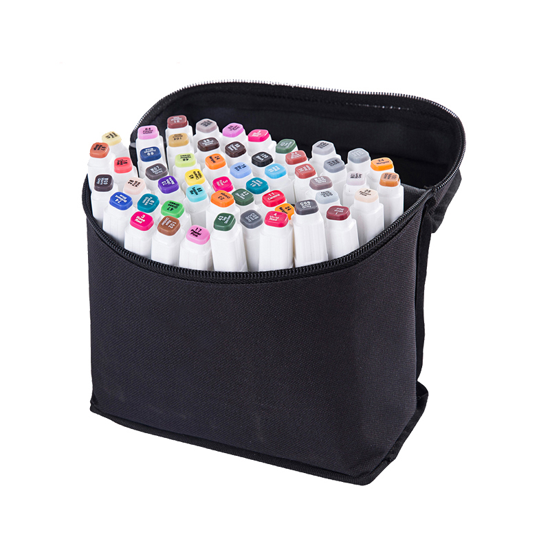 Portable Marker Pen Bag for 24/36/48/60/80 Pcs Color Markers Square Large Capacity Zipper Canvas Storage Bag Pen Holder Case with Handle Art Painting Supplies