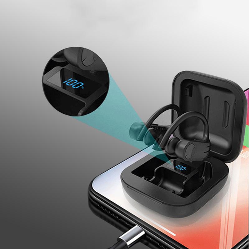 Wireless bluetooth 5.0 Ear Hook Headphones Waterproof CVC8.0 Noise Cancelling Earphone with Charging Case
