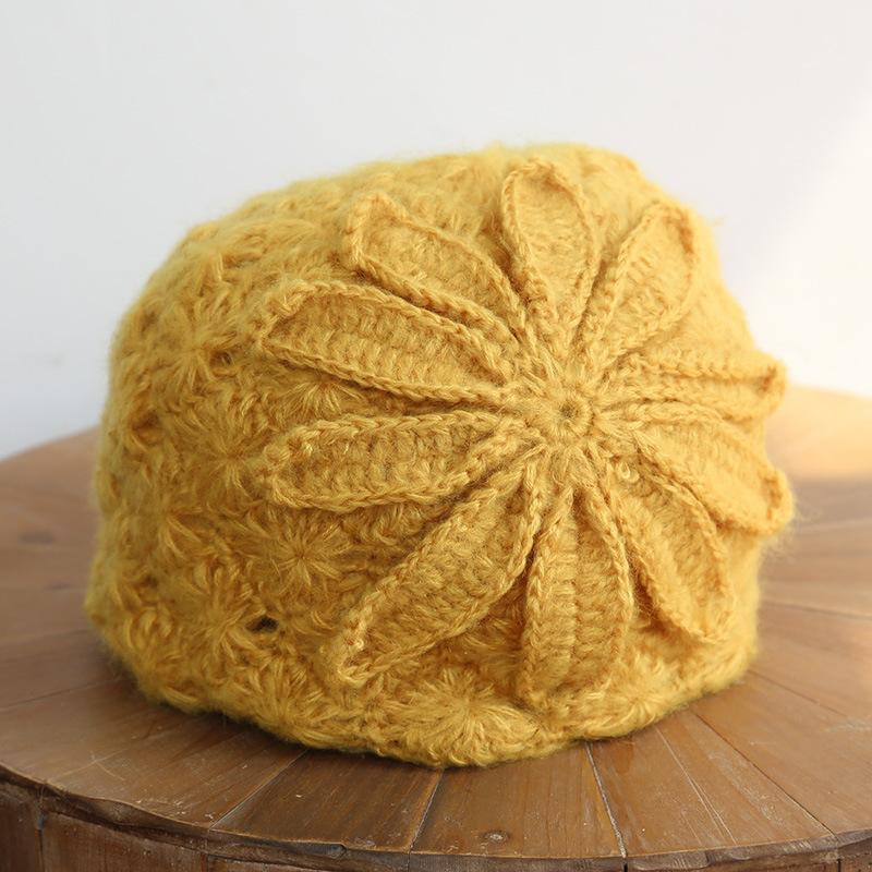 Ethnic Style Handmade Knitted Wool Hat Women Retro Elegant Flower Beret Beanie