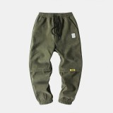 Mens Corduroy Thick Casual Loose Fit Mid Waist Jogger Pants
