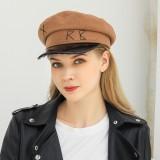 Women Woolen Flat Hats Navy Hat British Style Chain Octagonal Hat Beret