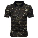 Outdoor Full-Print Men's Shirt Summer Camouflage Short-Sleeved Lapel Fishing Shirt cloth