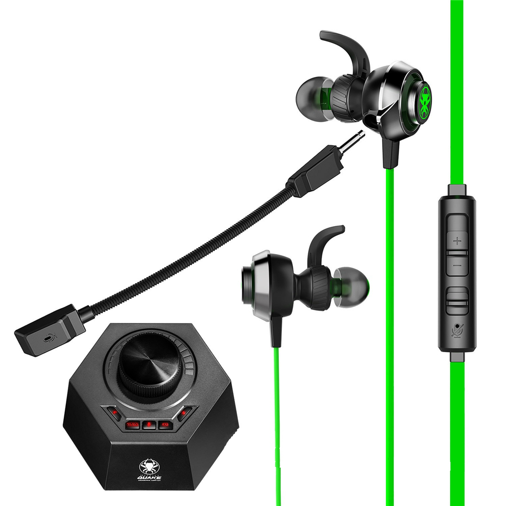 PLEXTONE G50 3.5mm Wired Control Earphone Game DSP Sound Processor HiFi Vibration Gaming Headphone with Dual Mic