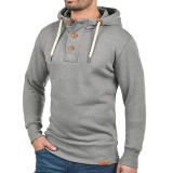 Mens Casual Drawstring Buttons Hoodies Solid Color Long Sleeve Slim Sweatshirt Sweaters
