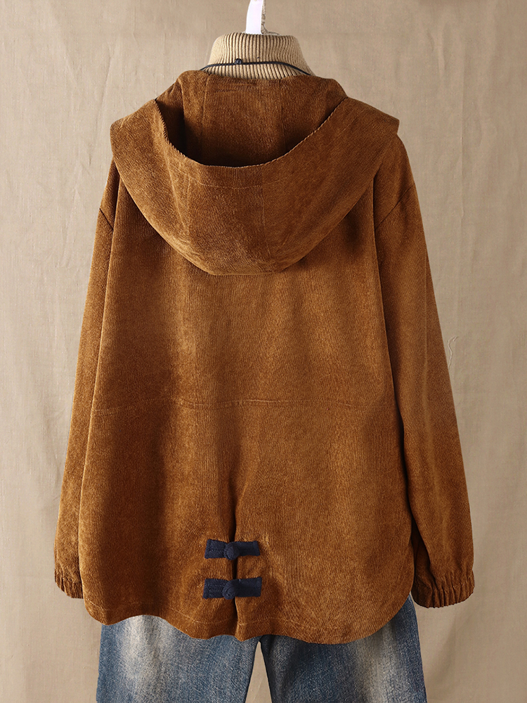 Plus Size Women Corduroy Patchwork Button Hooded Jacket