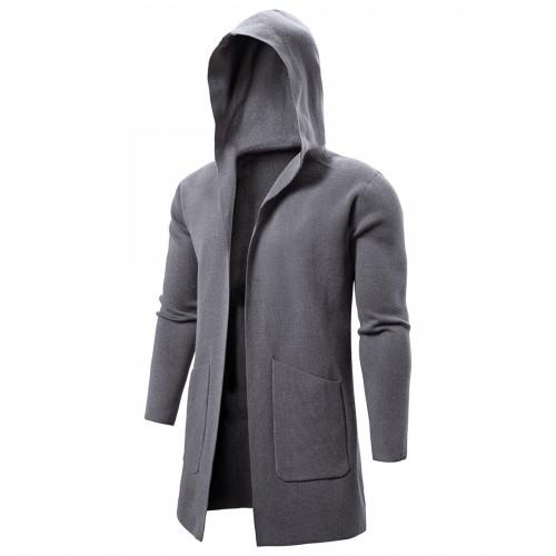 Mens Hooded Big Pockets Pure Color Thick Mid Long Casual Coats