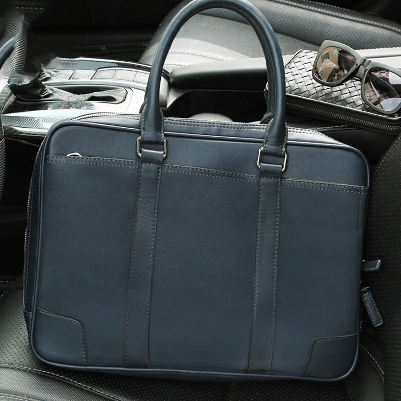 Horizontal Square Waterproof Genuine Leather Zipper Handbag Business Bag for Men (Blue)