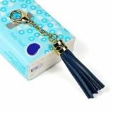 LS01 Tassel Zinc Alloy Keychain Car Hanging Bag Pendant (Dark Blue)