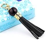 LS02 Cowhide Tassel Keychain Car Hanging Bag Pendant (Black)