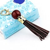 LS02 Cowhide Tassel Keychain Car Hanging Bag Pendant (Coffee)