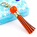 LS02 Cowhide Tassel Keychain Car Hanging Bag Pendant (Orange)