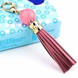 LS02 Cowhide Tassel Keychain Car Hanging Bag Pendant (Pink)