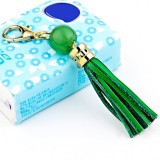 LS02 Cowhide Tassel Keychain Car Hanging Bag Pendant (Green)