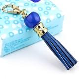 LS02 Cowhide Tassel Keychain Car Hanging Bag Pendant (Blue)