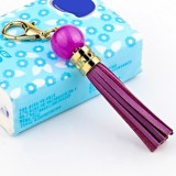 LS02 Cowhide Tassel Keychain Car Hanging Bag Pendant (Purple)