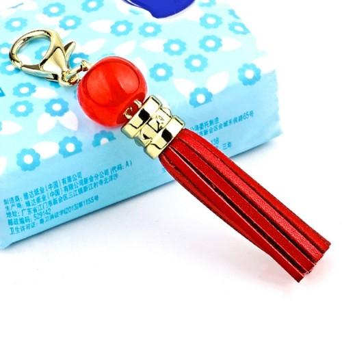 LS02 Cowhide Tassel Keychain Car Hanging Bag Pendant (Red)