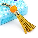 LS02 Cowhide Tassel Keychain Car Hanging Bag Pendant (Yellow)