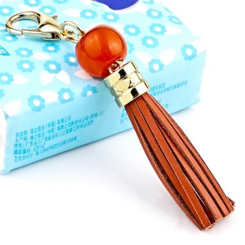 LS02 Cowhide Tassel Keychain Car Hanging Bag Pendant (Brown)