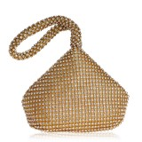 Women Fashion Banquet Party Diamond Handbag (Gold)