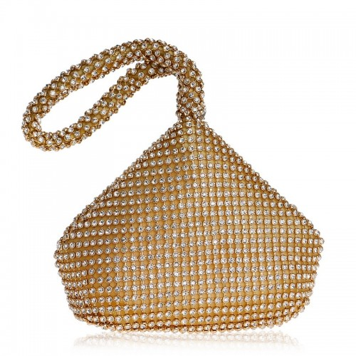 Women Fashion Banquet Party Diamond Handbag (Gold)