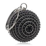 Ball Shape Women Fashion Banquet Party Pearl Handbag (Black)