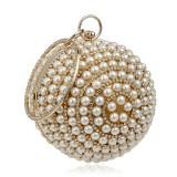 Ball Shape Women Fashion Banquet Party Pearl Handbag (Gold)